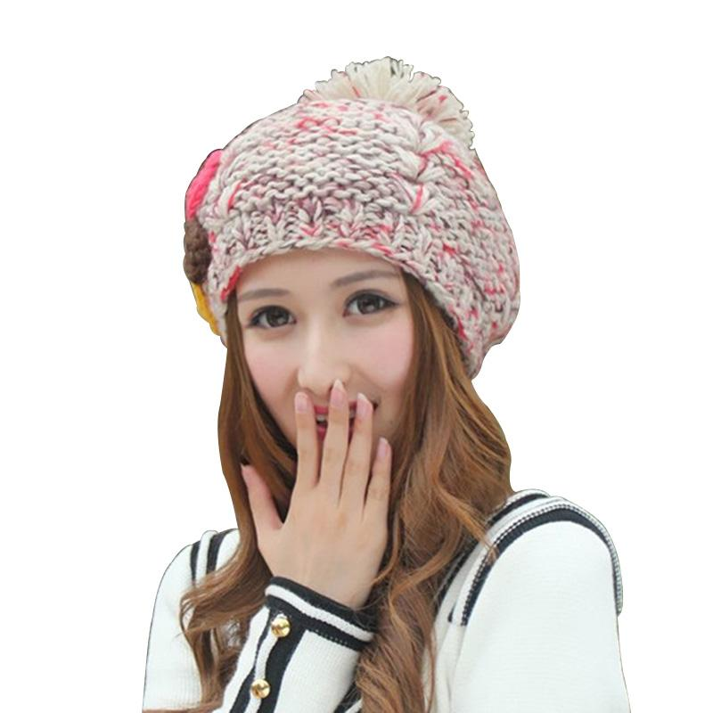 9d2b5874ffdd5 2019 Harajuku New Hand Crochet Knitted Hat Winter Warm Pompom Berets Cute  Flowers Women s Hats Fashion Print Lady Beanie Caps From Milknew