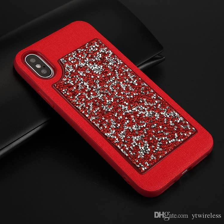 For iPhone X 8G 7G 6G Plus Slim Bling Diamond Sparkly Handmade Crystal Rhinestone Full Protective Shockproof Luxury Case Opp Bag Packaging