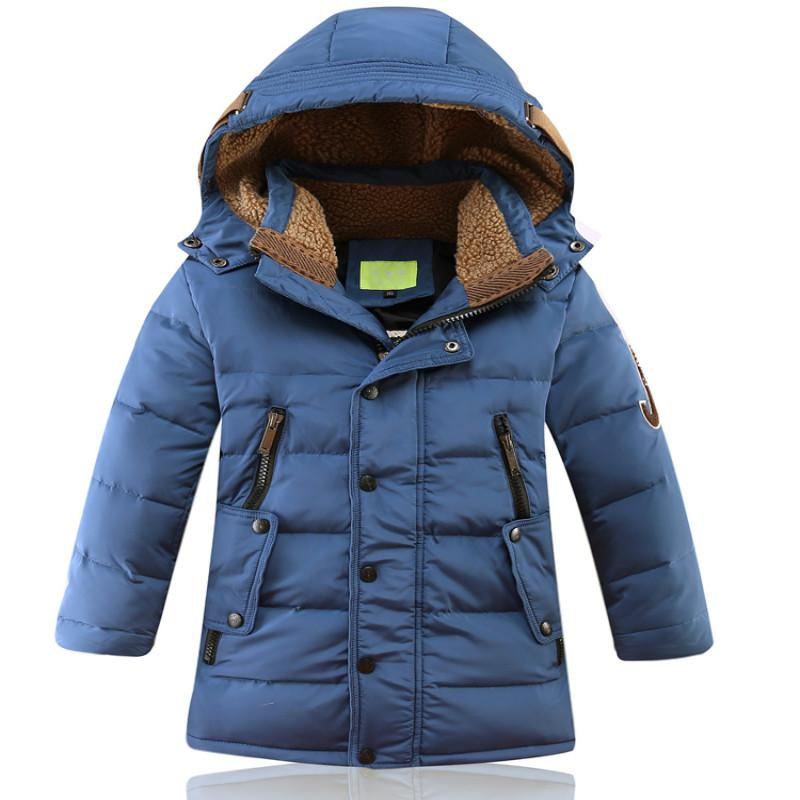 11891a997b7 Boys Girls Winter Down Jacket Hooded Warm White Duck Down Velvet Long  Length Coat Causal Fashion Size For 6