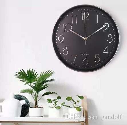 Mrosaa 12 Inch Wall Clock Modern Design Digital Pointer Quartz Hanging  Clock Living Room Decorative Horloge Clocks 20 Wall Clock 24 Hour Wall  Clock From ...
