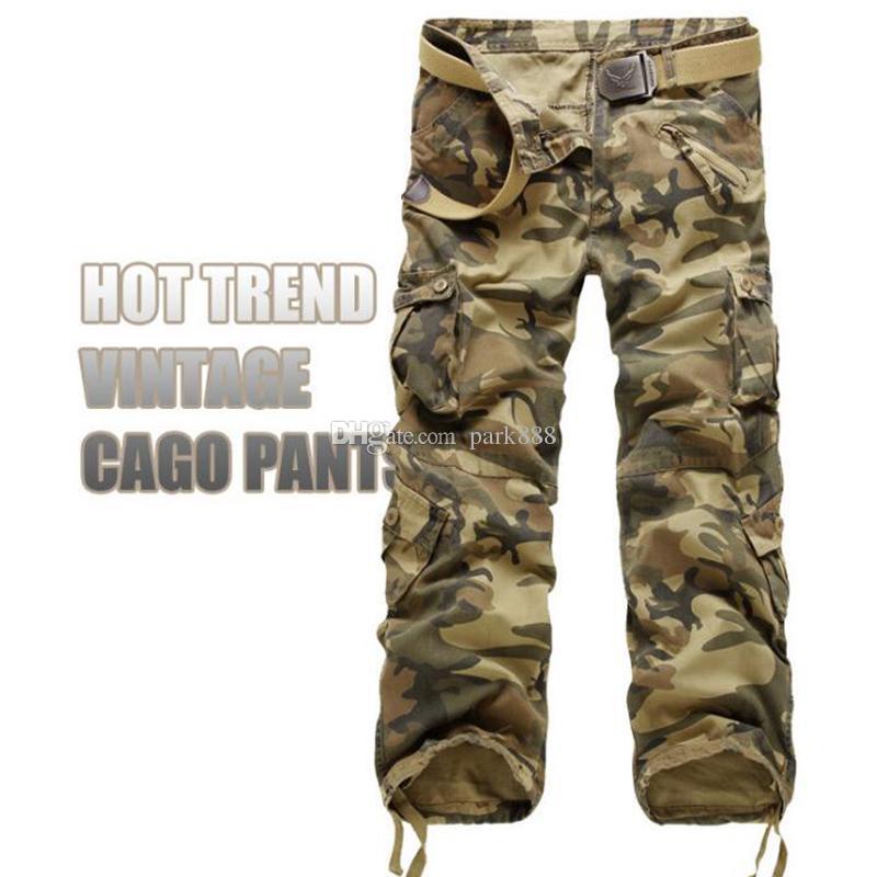 Casual Training Plus Taille Coton Respirant Multi Poche Militaire Armée Camouflage Cargo Pantalon En Plein Air Hommes Pantalon SANS Ceinture