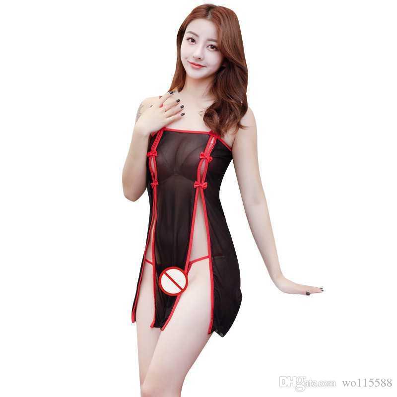 Ücretsiz Kargo Yeni sexy lingerie cosplay Siyah mesh cheongsam bölünmüş etek seksi etekler see-through kadın elbise etek pijama