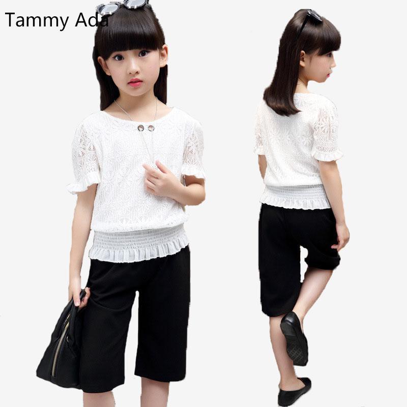55421e0e86c9 2019 Tammy Ada Girls Summer Outfits Kids Short Sleeve Shirts   Knee ...
