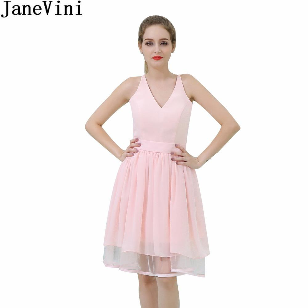 Wholesale Sexy Pink Short Bridesmaid Dresses Simple Lace V-Neck Chiffon  Girls Formal Wedding Party Gowns Robe Mousseline In Stock Online with   224.6 Piece ... 2d4ade2cf9db