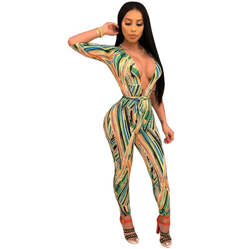 ac9dbc14c24a 2019 Half Sleeve Sexy Skinny Jumpsuit Women Deep V Neck Stripe Long Romper  Summer Bow Sashes Floral Print Bodycon Catsuit TS788 From Chikui
