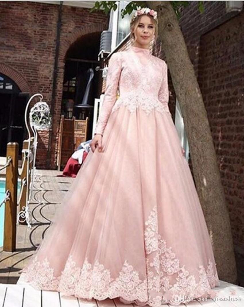 Discount Pink Muslim Wedding Dresses 2018 Long Sleeves High Neck ...