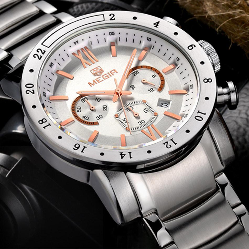 c96873c44471 Compre MEGIR Hombres Cronógrafo Relojes Marca De Lujo Reloj De Acero  Inoxidable A Prueba De Agua De Los Hombres Fecha Relojes De Cuarzo Reloj  Deportivo ...