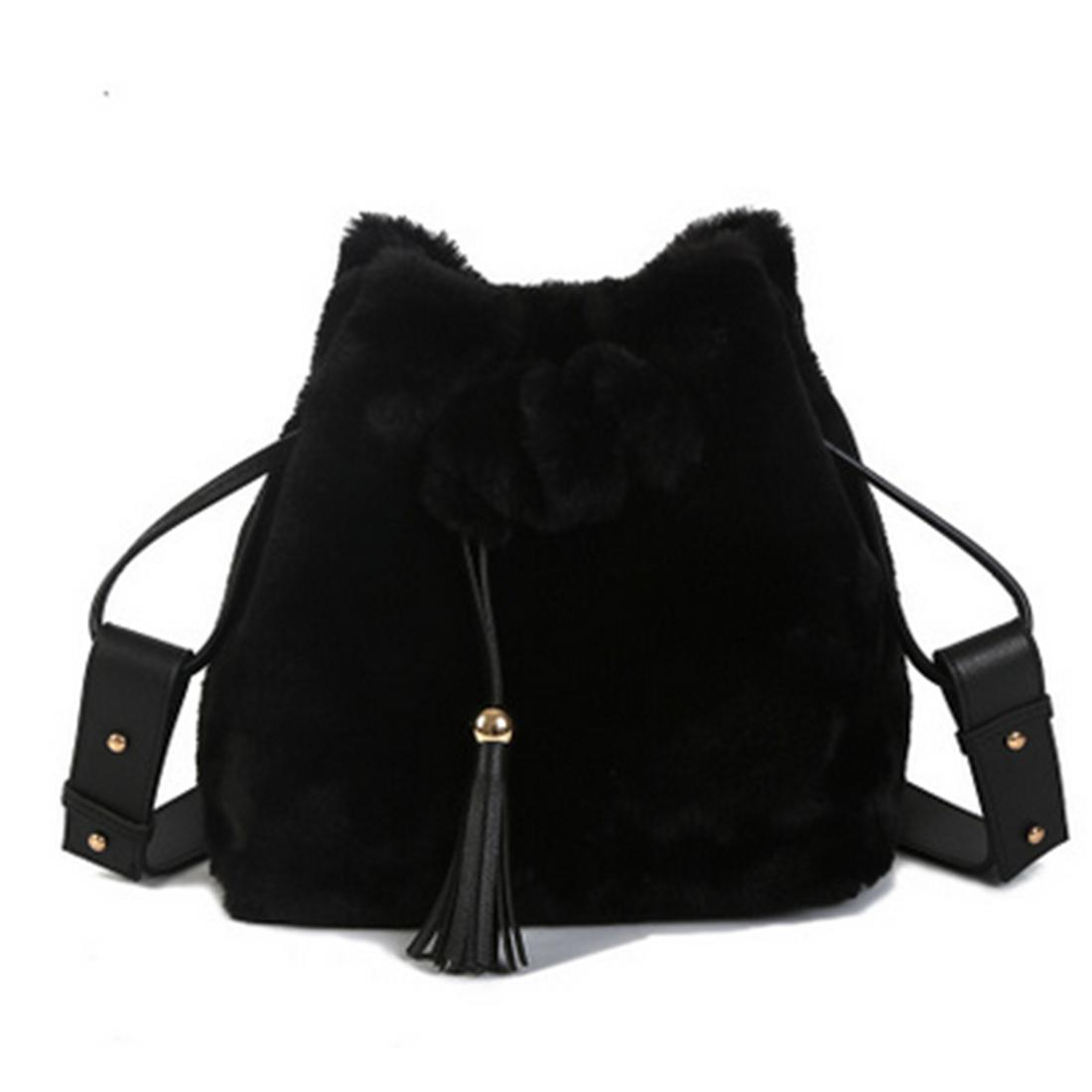 2017 Winter Faux Fur Bucket Bags Tassel Plush Female Shoulder Bags ... acc63979339fb