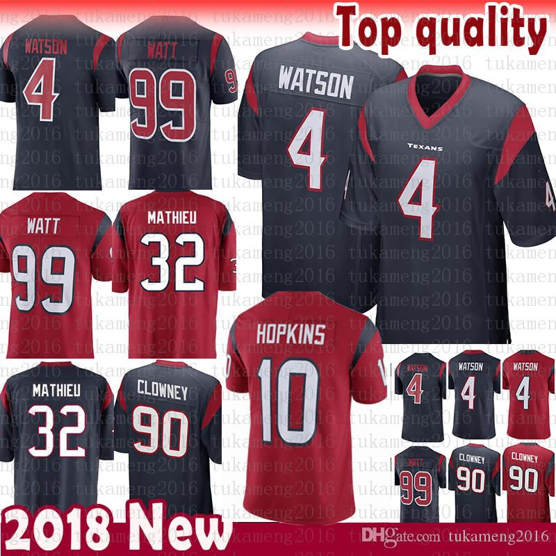 2019 Good Quality Houston Jersey Texans 10 DeAndre Hopkins 4 Deshaun Watson  Stitched 99 J.J. Watt 32 Tyrann Mathieu 90 Jadeveon Clowney Jerseys From ... 9bab6ce75