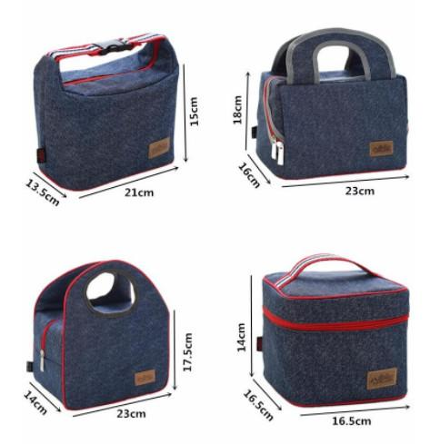 2018 Factory Sale high quality Denim picnic Bag Kid Bento Box Insulated Pack Picnic Drink Thermal Ice Cooler bag bole