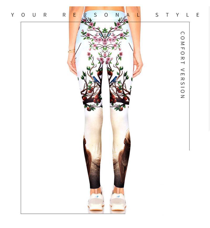 Spring women leggings pants New creative 3D three-dimensional deer print tights Sports Fitness Yoga Pants Light-colored sportswear