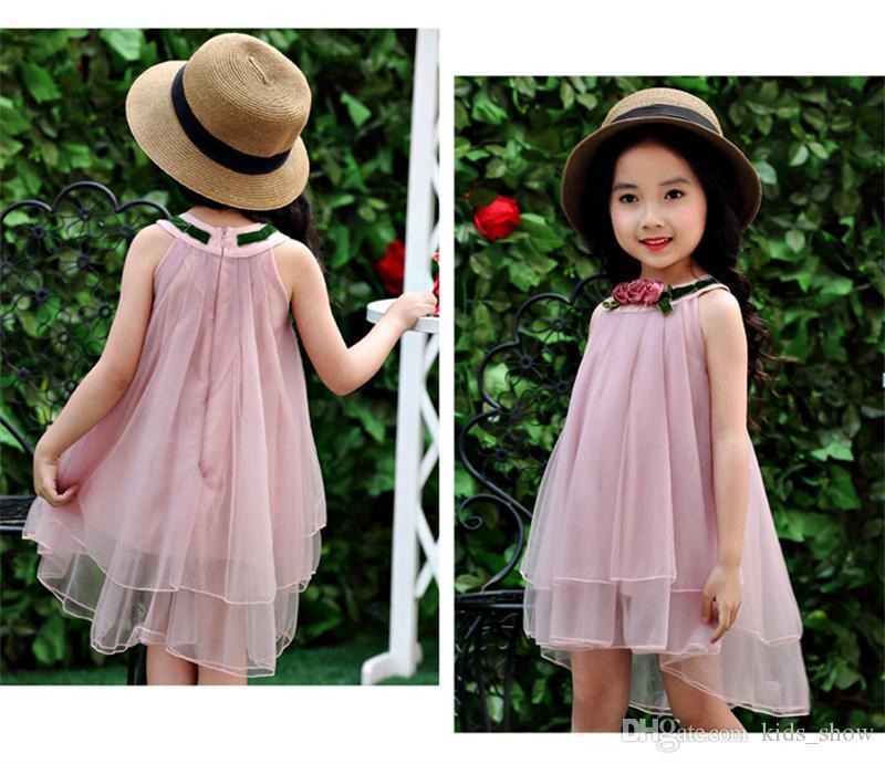 Bebek kız güller Çiçek Prenses Elbise Kollu-az Elbise moda yaz Diz Boyu elbise şifon elbiseler 2 renkler
