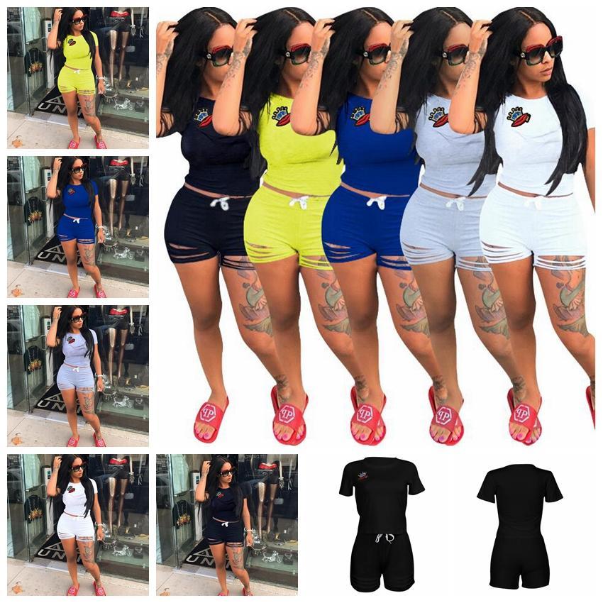 6118eec1f5b 2019 Women Summer Casual Shorts Tracksuit Crown   Lip Gloss Crop Sweatshirt  With Ripped Hole Shorts Pant Set Jogger Suit GGA439 From  Liangjingjing bikini