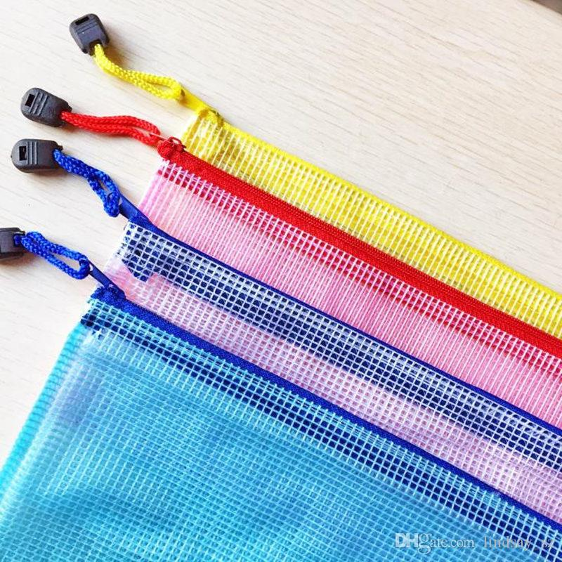 A4 Grid Transparent Document Bag PVC Zipper Stationery Pouch Filing Products Storage Bag Pencil Bags fast shipping F20173306