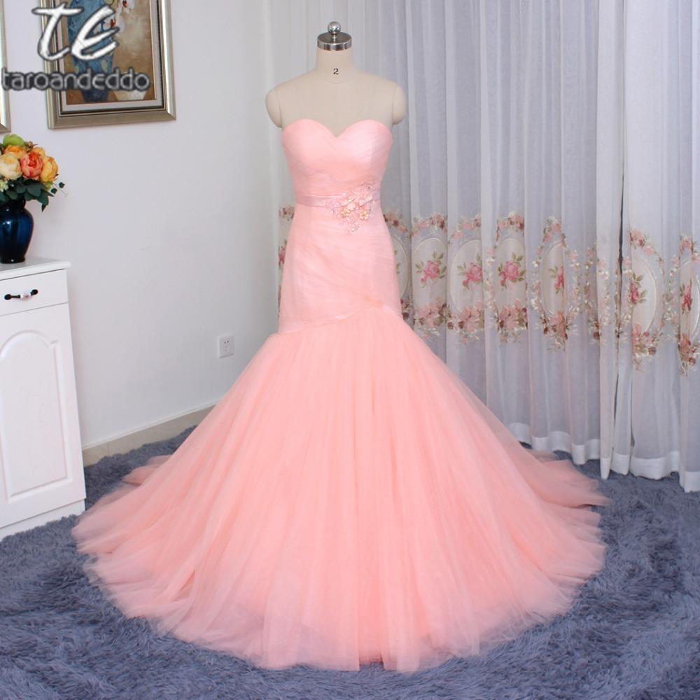 Cheap Price US4 Size Only ONE PIECE Ruched Tulle Pink Mermaid Wedding Dress  Lace Up Marry Dresses Bridal Dresses Bridal Dress Mermaid Dress From ... 721ecea97e6e