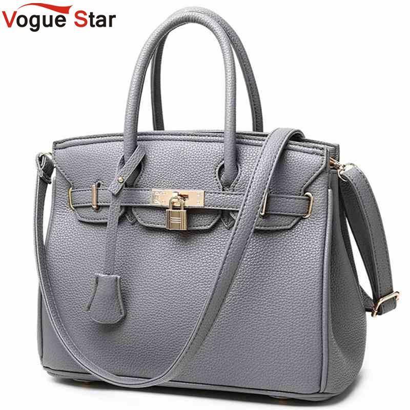 8204cb0b9f35 Wholesale- Vogue Star Luxury Lock Rivet Ladies Leather Tote Bag 2016 ...