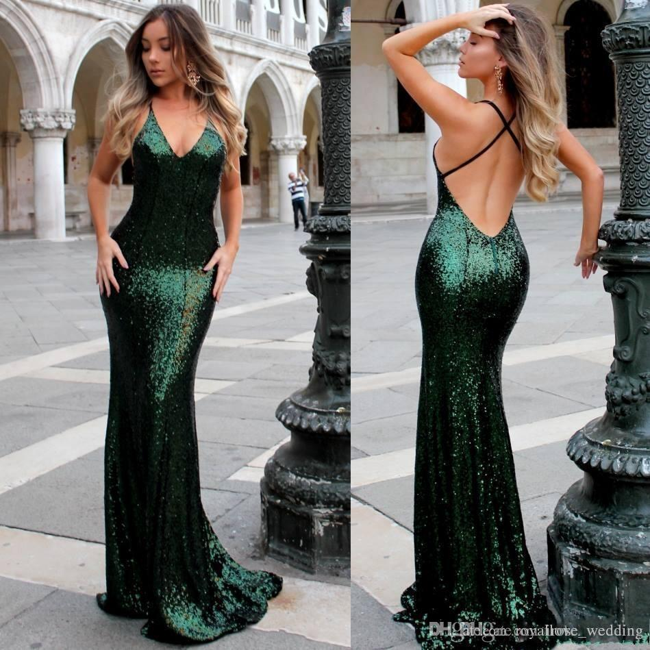 39056c4b177 Emerald Deep V Neck Prom Dress Mermaid Bling Sequined Criss Cross Backless  Sweep Train Party Evening Gowns Low Back Formal Dress Vestidos Evening  Dresses ...