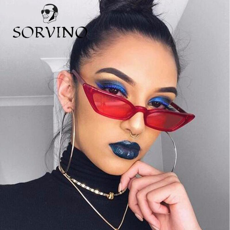 c606a976a6 SORVINO 2018 Small Red Cat Eye Sunglasses Women Brand Designer Retro  Vintage Narrow Rectangular Cateye Frame 90S Sun Glasses Shades Sunglasses  Eyeglasses ...