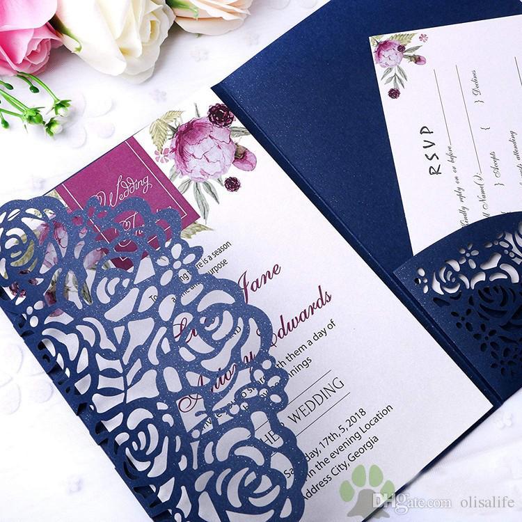 Convite De Casamento Para Imprimir Hot Sale Azul Marinho Cartões De