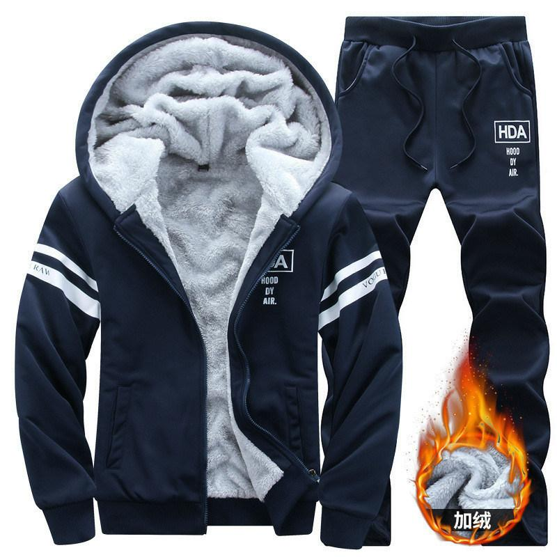 bf107632e New Winter Tracksuits Men Set Thicken Polyester Hoodies + Pants Suit Spring Sweatshirt  Sportswear Set Male Hoodie Sporting Suits C18110901 Online with ...
