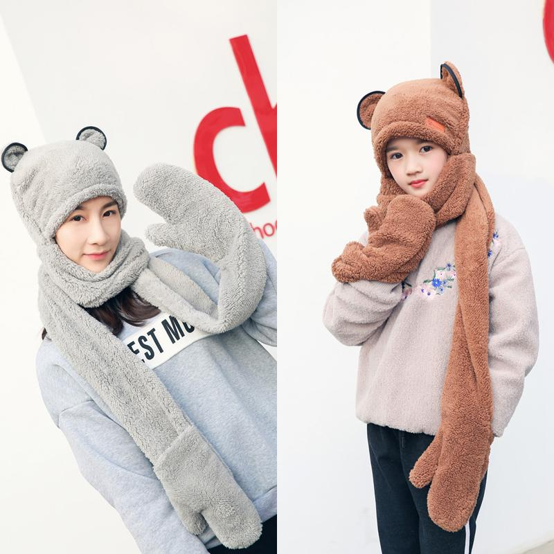 4d151bbc689 2019 Winter Double Layer Thickened Boys And Girls Hats Scarves Gloves Three  Pieces In One Winter Accessories For Women Set From Winwin2013