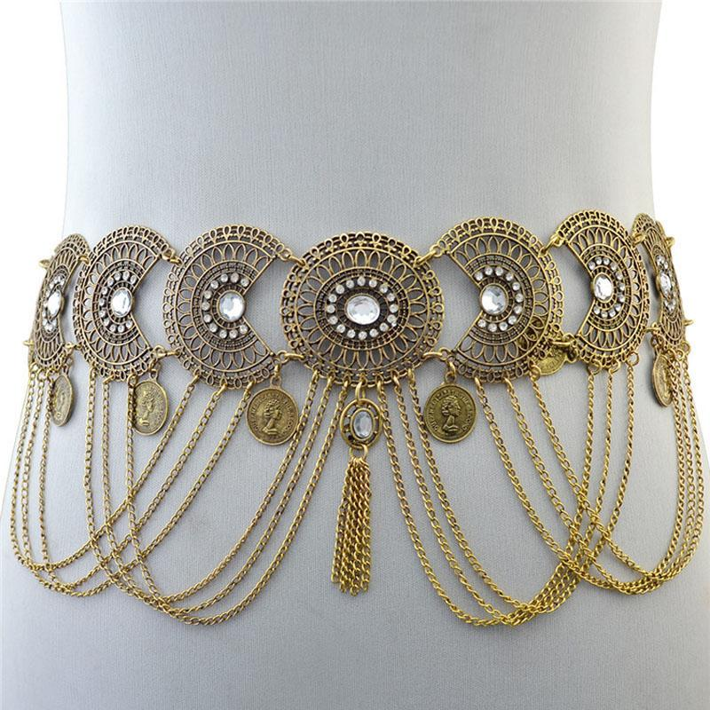 Womans Openwork crystal waist chain tassel geometry coin long metal chain luxury belly fringed belt dance for evening wear
