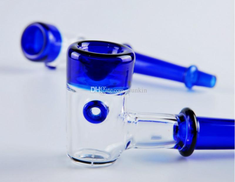 Горячий в продаже Hammer bubblers Smoking Pipe blue Glass smoking Pipes толстые 12 см стеклянная ложка трубы ручной работы стекло масло горелки трубы