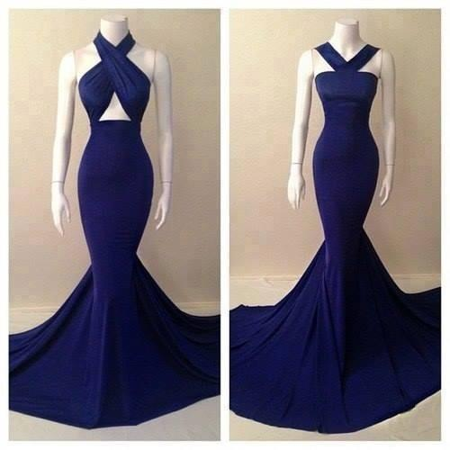 Real picture 2018 top quality two designs halter royal blue chiffon gorgeous mermaid prom dresses cheap girls dresses party