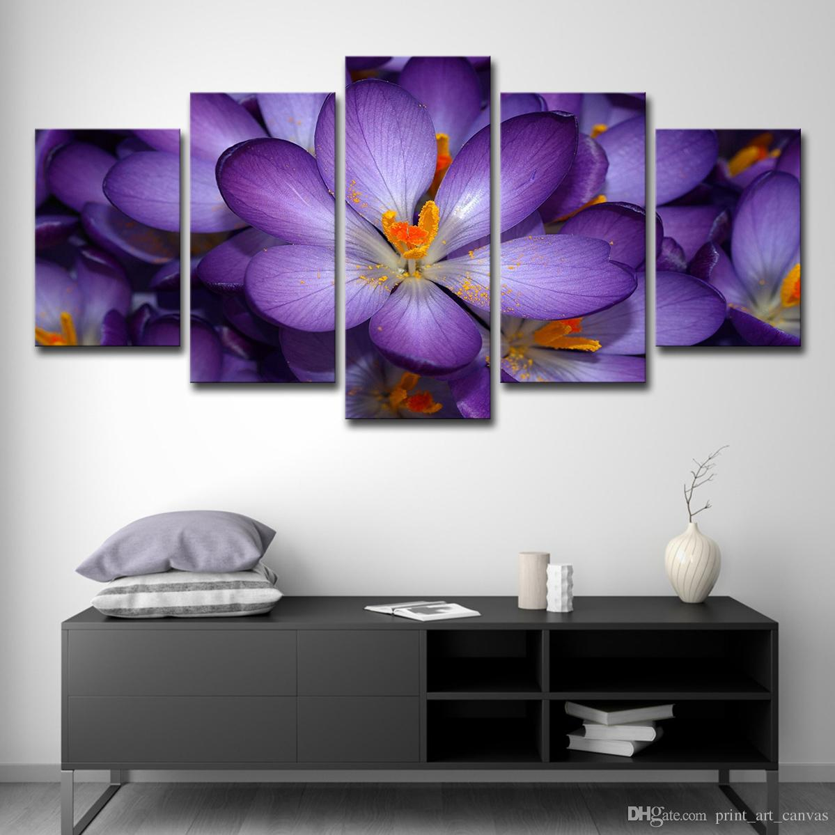 2019 home decor canvas hd prints pictures wall art beautiful purple flowers paintings for living room modular petals posters from print art canvas