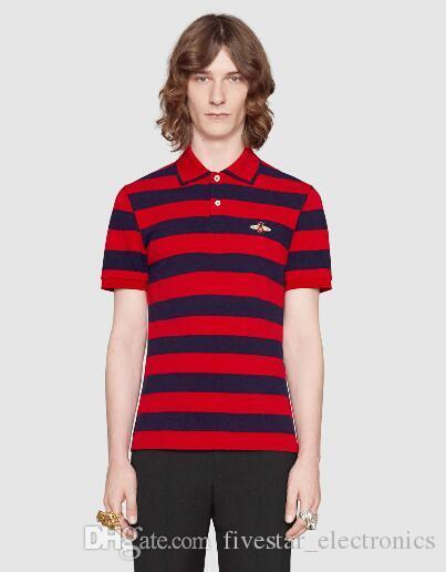d59f2e10 2019 Hot Sale 2018 Fashion Male Polo Shirt Striped With Bee Embroidered  Short Sleeve Italy Men Polo Shirts Casual Polos Homme M 3XL Red From ...