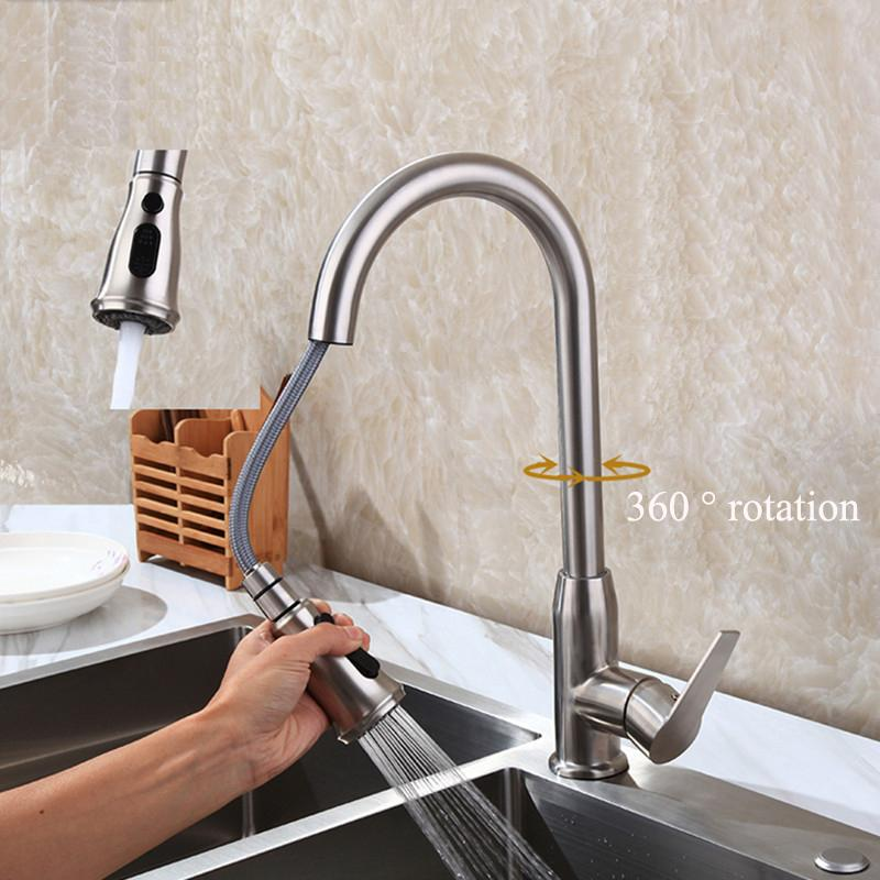 360 Degree Rotation Pull Down Kitchen Faucet With Two Spouts Handheld Shower Brushed Kitchen Mixer Tap Deck Mounted