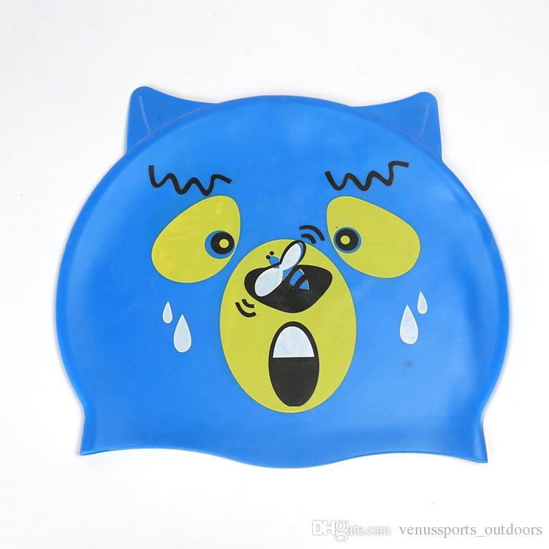 Costumi da bagno bambini Ragazzi Ragazze Costumi da bagno Cappelli Abbigliamento bambini Cuffie da nuoto Gel di silice Bambini Simpatico cartone animato Pesce Nuoto Cuffia da bagno doccia