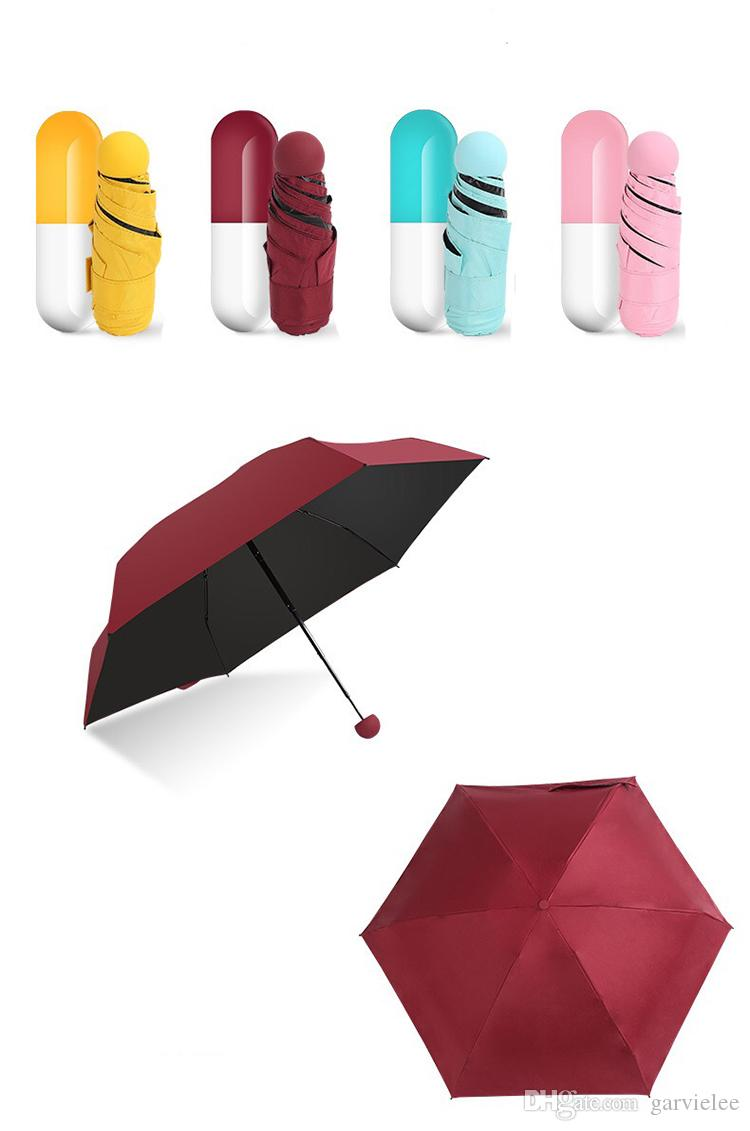 Compre Engraçado Projeto Cápsula MINI Guarda Chuva Mulheres Chuva Pequeno  Cinco Folding Guarda Chuvas Sol Compacto   Chuva Das Mulheres Sol Umbrella  ... 87247199cec
