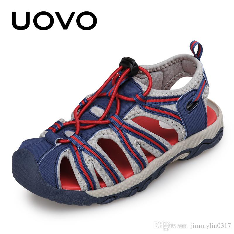 cd137f71ed6d86 UOVO 2018 New Kids Sandals Boys Summer Fashion Shoes Elastic Band Little Children  Footwear For Boys Beach Sandals Size 25  32  Pretty Shoes For Kids ...