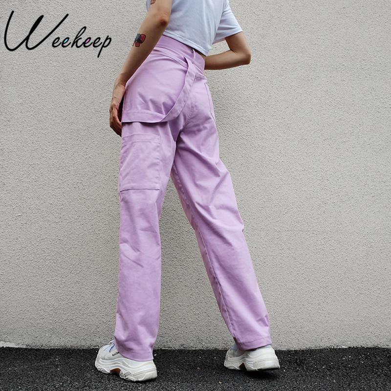 2bc55eb379 Compre Weekeep Loose Pantalones De Cintura Alta De Las Mujeres Pantalones  De Algodón De Longitud Completa Mujeres 2018 Moda Stretch Streetwear  Pantalones ...