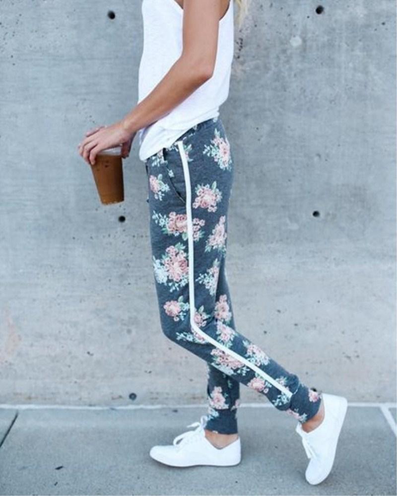 Новые женские дамы мягкие цветочные принт спортивные штаны капри высокая талия империя хлопок на шнуровке причинные свободные брюки повседневные брюки ползунки