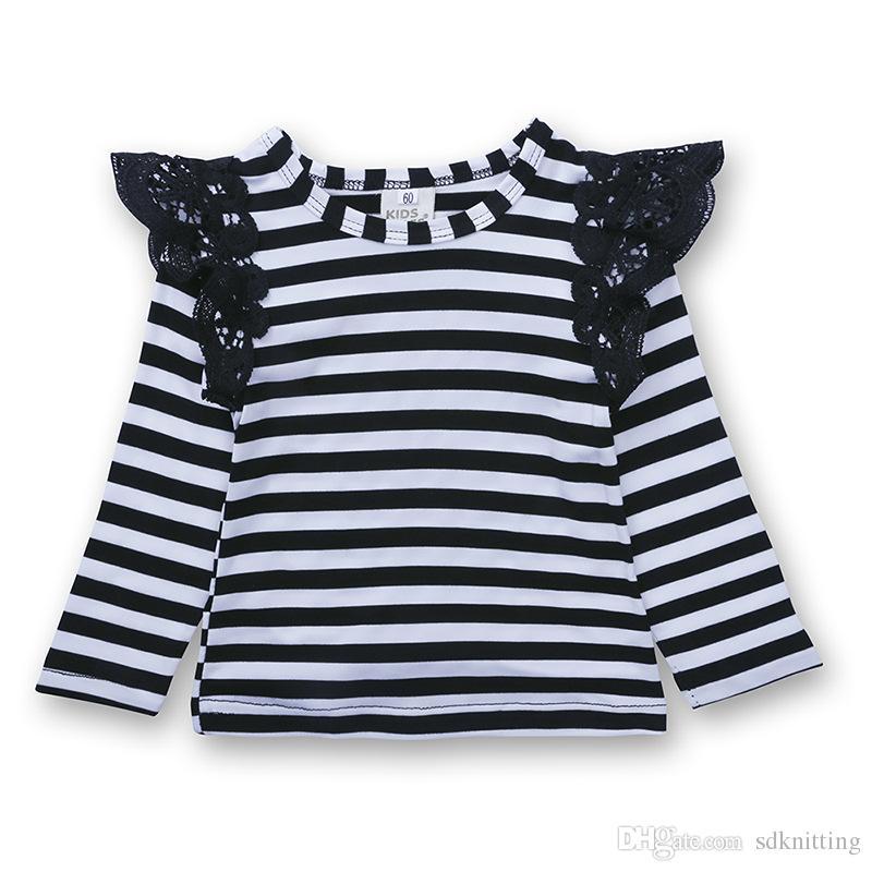Bebê recém-nascido Meninas Kid Top T-shirt de Renda Puff Ombro Verão Cor Sólida e Listra T-shirt Pano Frete grátis