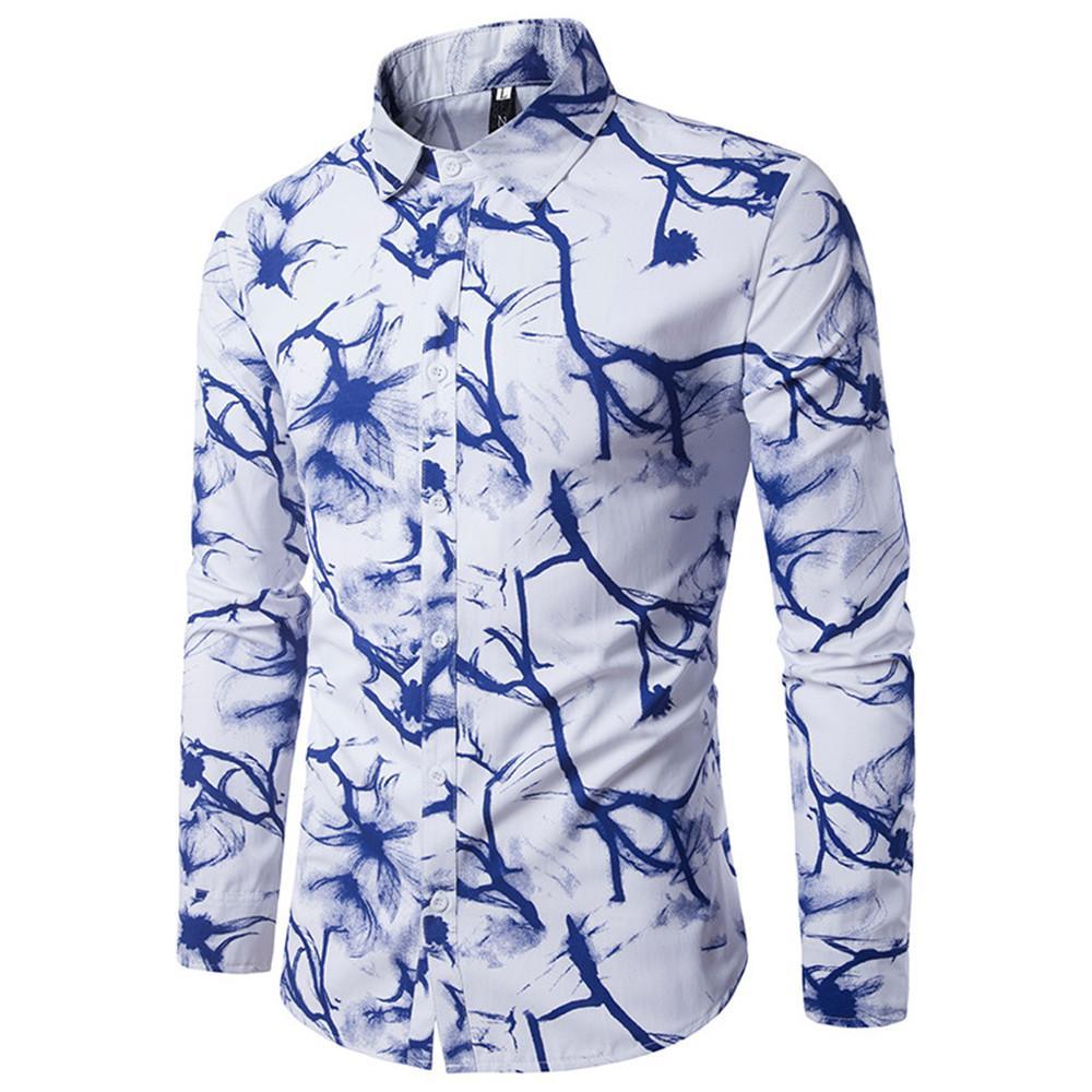 Satın Al çin Mürekkep Boyama Erkekler Gömlek Sanat Tarzı Bluz Bahar