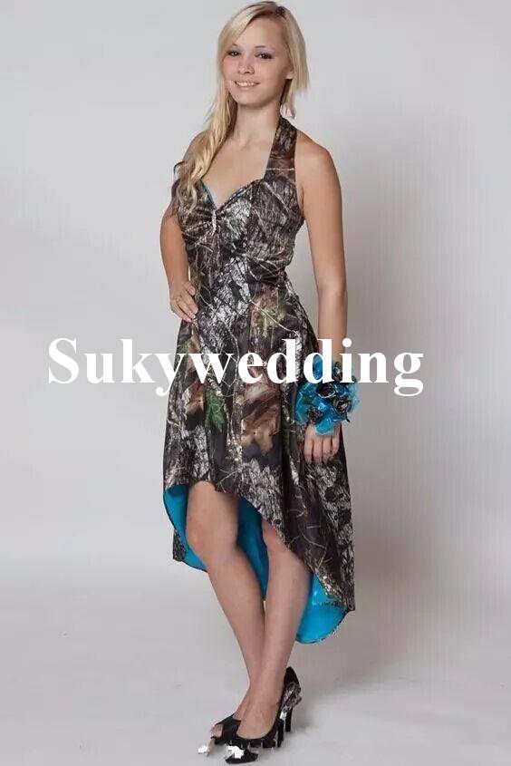 Mavi Camo Gelinlik Modelleri Merhaba Düşük Düğün Parti Elbise Kısa ön Uzun Geri Kamuflaj Onur Hizmetçi Kıyafeti Halter Ülke Gelinlik