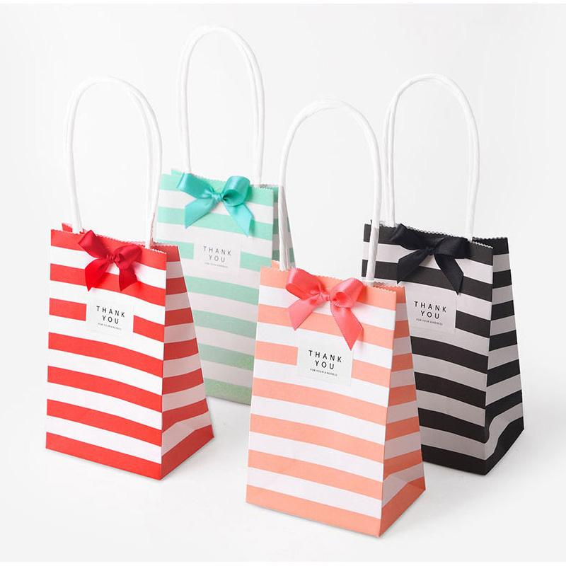 Wedding Birthday Decoration Event Party Supplies Small Mini Gift Bag With Handles Paper For Candy Jewelry Color Blue Christmas Wrapping