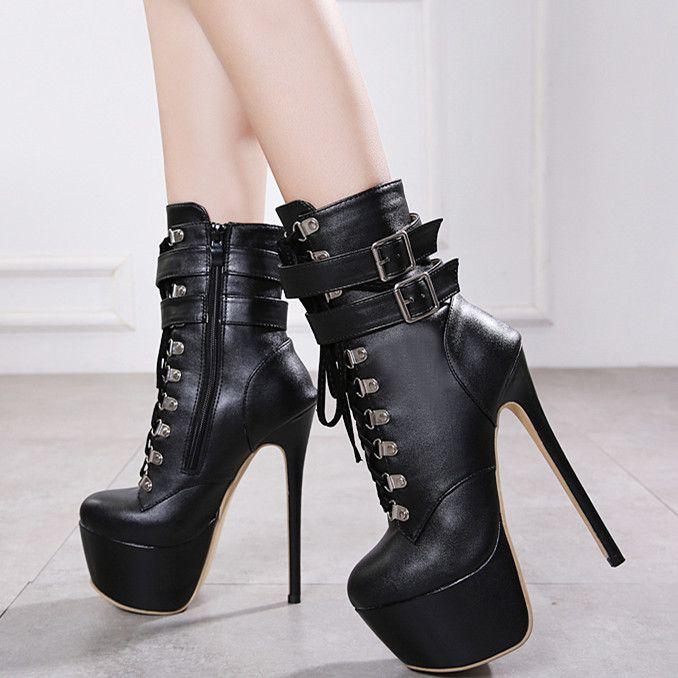 2897d0cf1 Compre 16cm Mujer Con Cordones Botines Super Plataforma Tacones Altos  Zapatos De Cuero De PU Negro Botas De Diseñador De Tamaño 35 A 40 A  35.21  Del ...