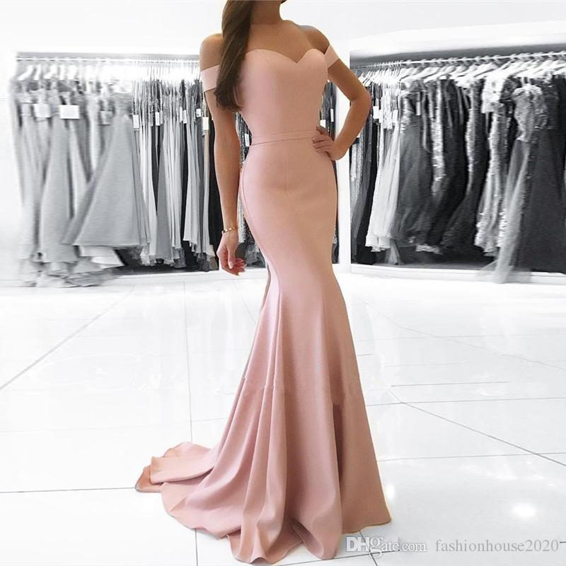 0b45850ee0e Simple Prom Dresses 2018 Off Shoulder Blush Pink Satin Short Sleeves Long Evening  Dress Cheap Mermaid Party Pageant Special Occasion Gowns Black Short Prom  ...