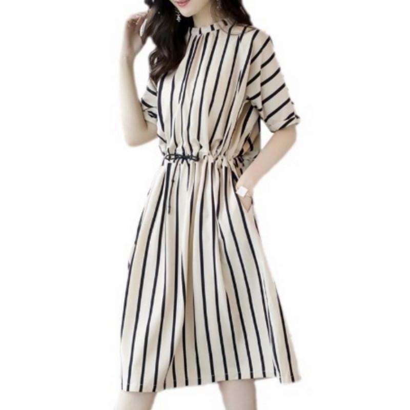 2018 Summer Female Casual Striped Loose Shirt Dress Elegant Half ... fc733a9fd01e