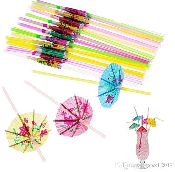 Plastic Straw Cocktail Parasols Umbrellas Drinks Picks Wedding Event Party Supplies Holidays Luau Sticks KTV Bar Cocktail Decorations SN226