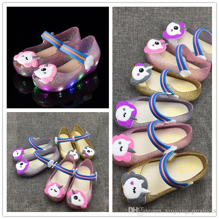 764ee7fa58a0 Led Unicorn Shoes Kids Jelly Sandals LED Light Up Glitter Shoes Little Girls  Unicorn Party Unicorn Dress Sandal Slippers Pink Gold Halloween Costumes  Themes ...
