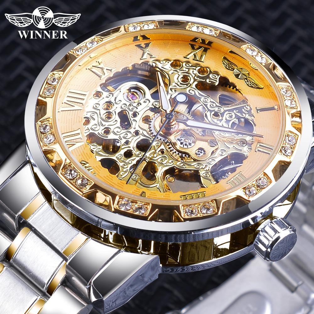 cf930aaa39c Compre Vencedor Esqueleto De Ouro Relógios De Luxo Diamante Design De Aço  Inoxidável De Prata Dos Homens Relógios De Pulso Mecânicos Relógio  Masculino ...
