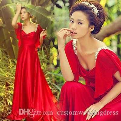 red chiffon cap sleeve crystal hot sexy long Evening Dress 2018 new design beading vestido longo prom dresses Formal gowns