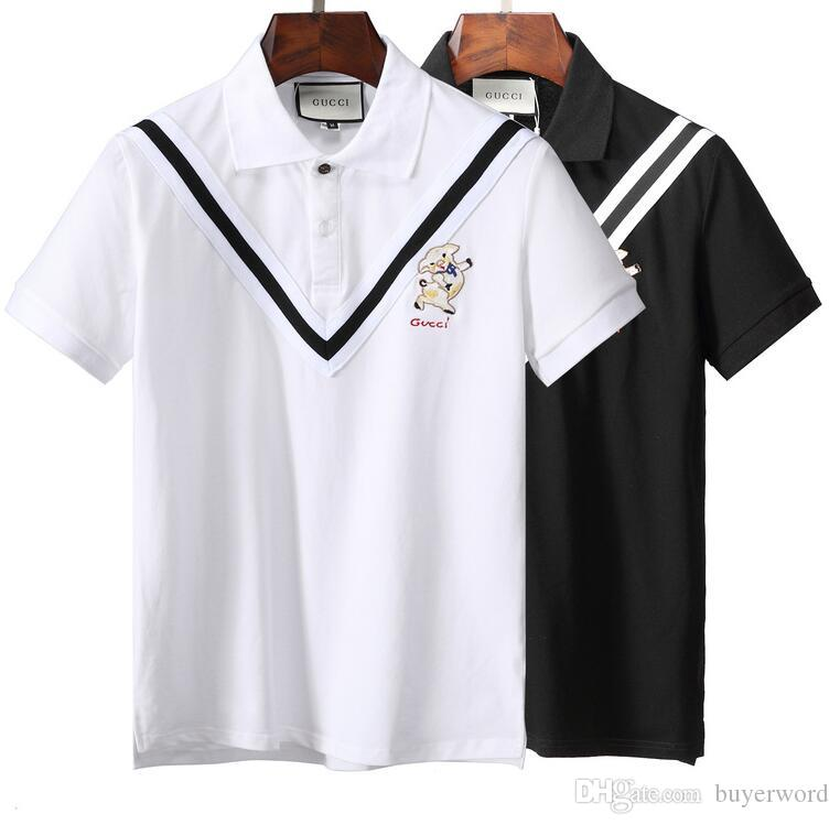 29f0455e NEWEST 18ss Italy DesignerS Polo Shirt LuxuryS T Shirts Mens Casual Polos  With Embroidery Letter G Fashion Strip Print Cotton Polos T Shirts Shopping  Really ...