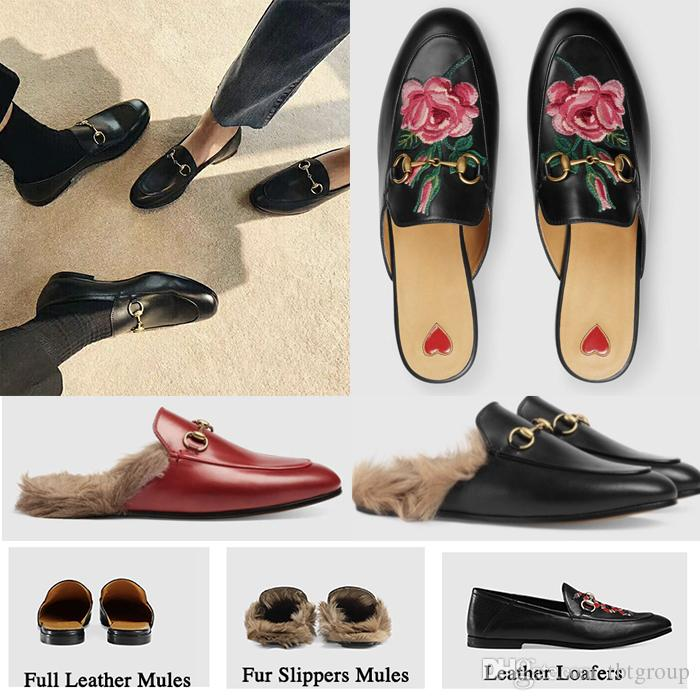 New Mules Princetown Men Women Fur Slippers Mules Flats Genuine Leather Designer Fashion Metal Chain Ladies Casual shoes US 5-12