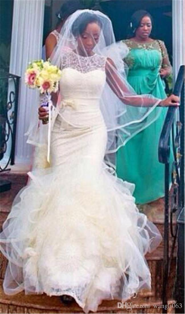 2018 Sexy Illusion Plus Size Mermaid Wedding Dresses Jewel Neck Arabic Lace Appliques Sexy African Style Layered Skirts Bridal Gowns